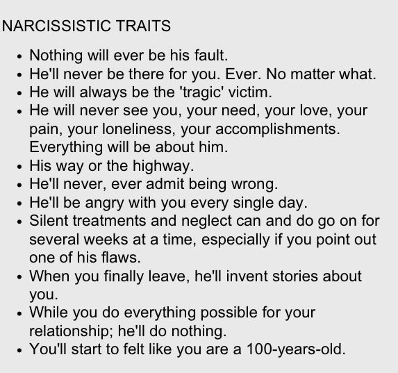 Signs of narcissism in a relationship