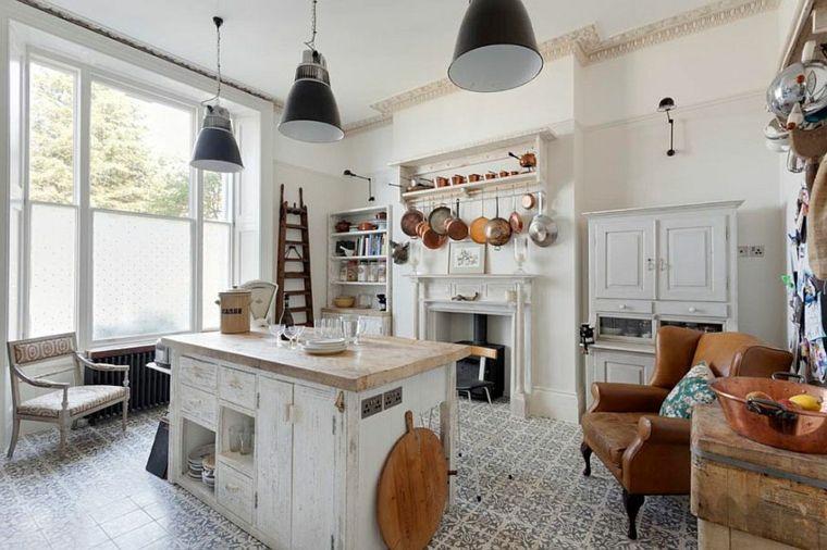 ottima idea per arredare shabby chic cucina con un\'isola al centro ...