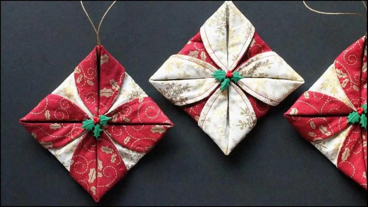Folded Fabric Ornaments Fabric Christmas Ornaments Quilted Christmas Ornaments Folded Fabric Ornaments
