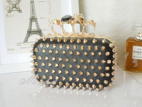 Fashion Womens Rivet Skull Ring Knuckle Clutch Leather Purse Bag Handbag Black