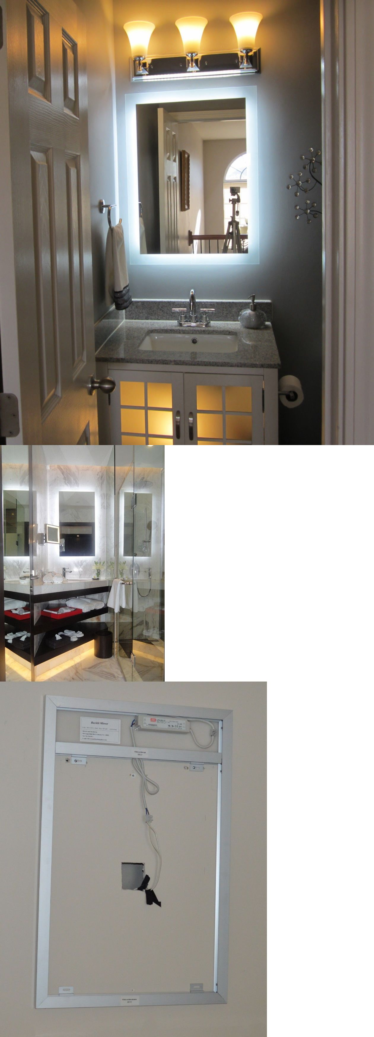 Lighted vanity mirror make up wall mounted led bath mirror mam94331 - Mirrors 133693 Lighted Vanity Mirror 24 Wide X 32 T Mam92432 Side Lighted Led Wall