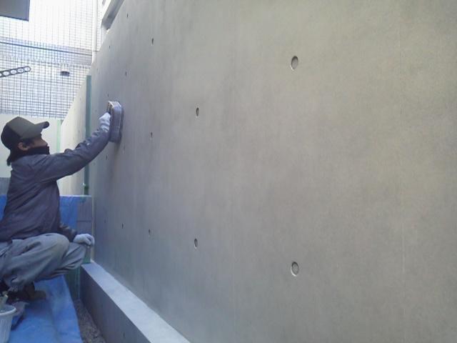 ブロック塀をコンクリート打ちっぱなし風に塗り替えました 外壁外