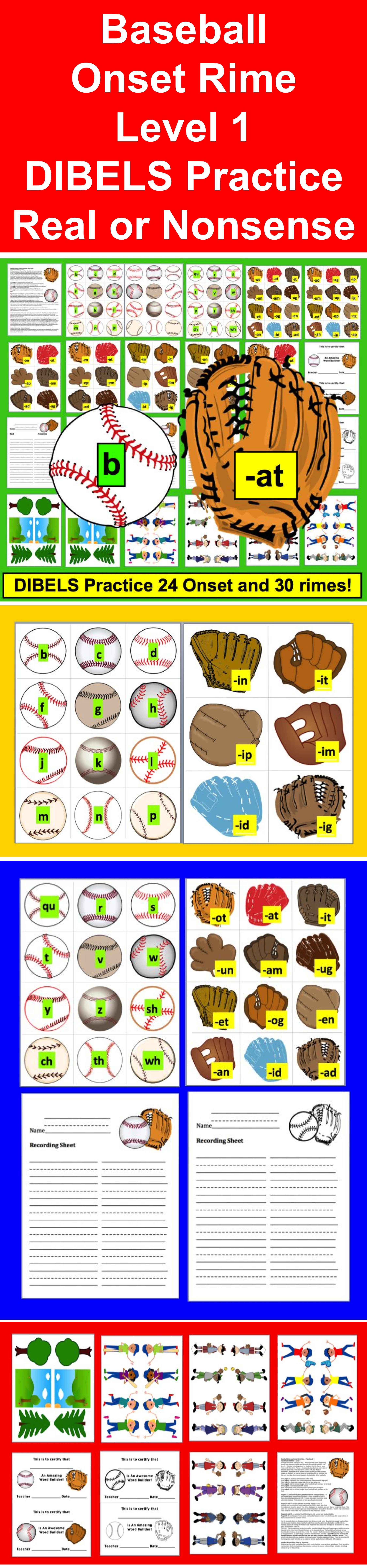Baseball Literacy Centers Play Catch Onset Rime Dibels