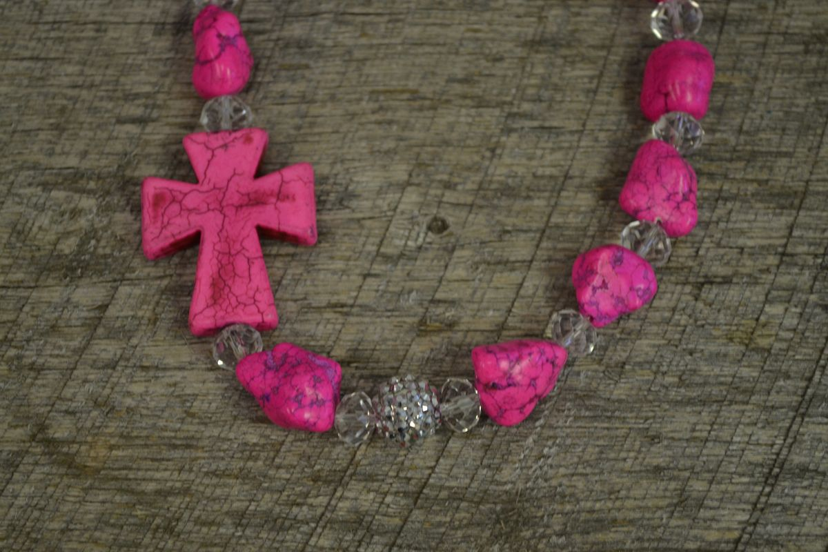 Handmade necklace with pink nuggets, clear crystal rondelles