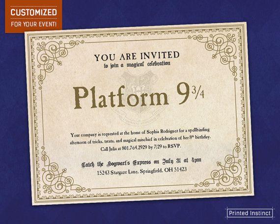 Harry Potter Party Quot Platform 9 3 4 Quot Printable Invites Harry Potter Party Harry Potter Classroom Printable Invitations