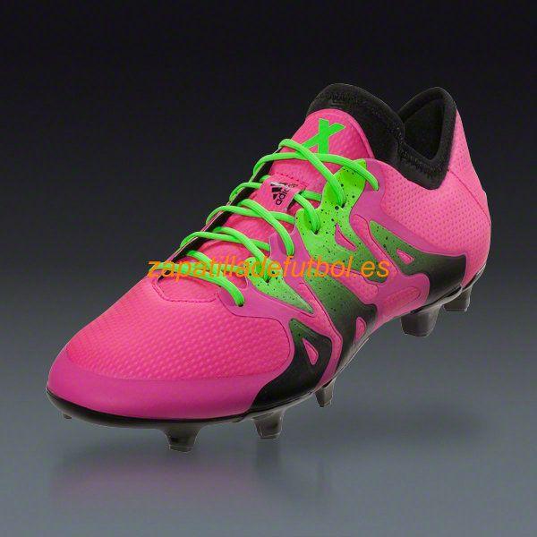Nueva llegada Zapatos de Futbol Adidas X 15.1 FG AG Choque Rosa Verde Negro  Solar dfff62b8c1fd7