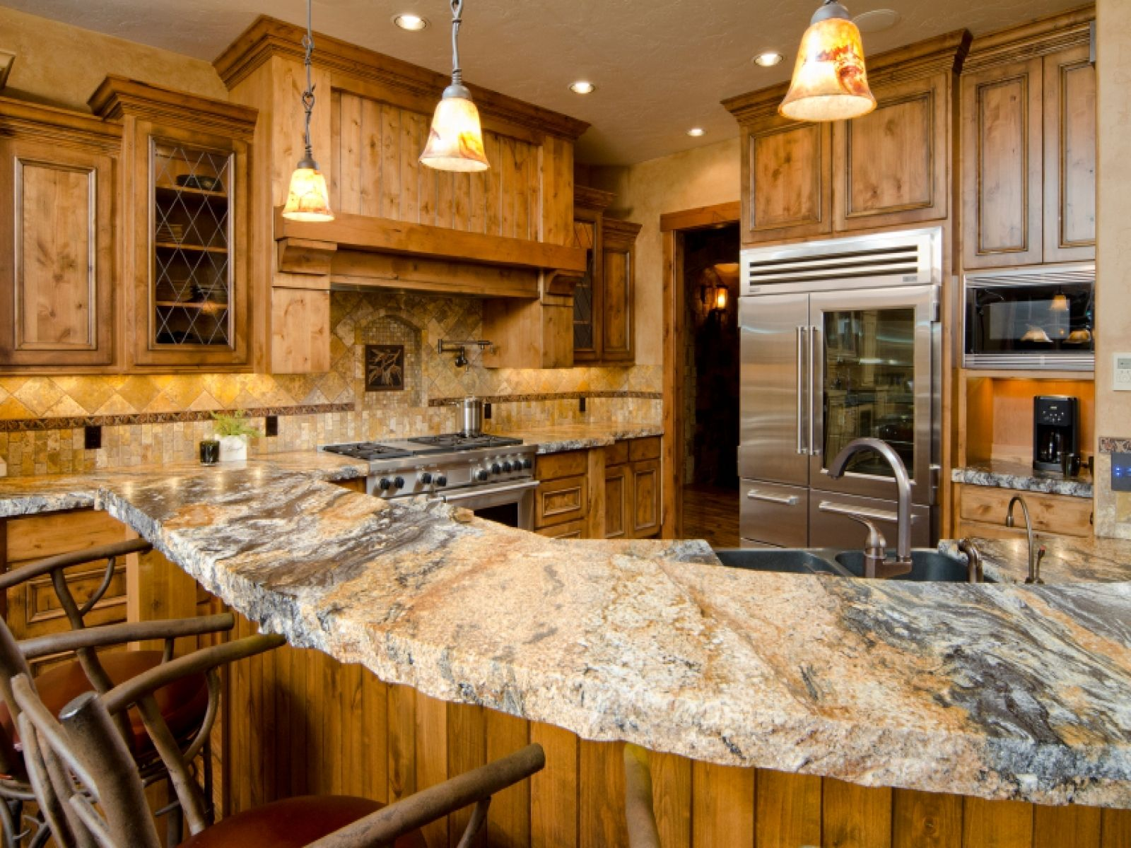 Captivating Decorating With Oak Cabinets | Kitchen Countertops | Pics Picture Of Granite  Countertops In Kitchens .