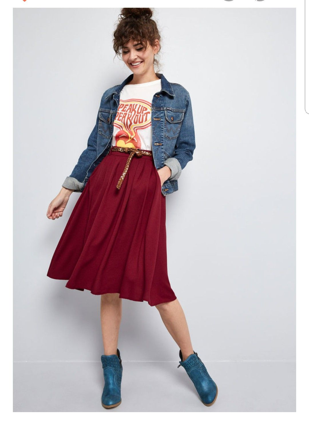 b6e4c4631e Match the beauty of your favorite flower petals by opting to flaunt this  burgundy midi skirt for the day! Clasp the braided faux-leather belt  through the.