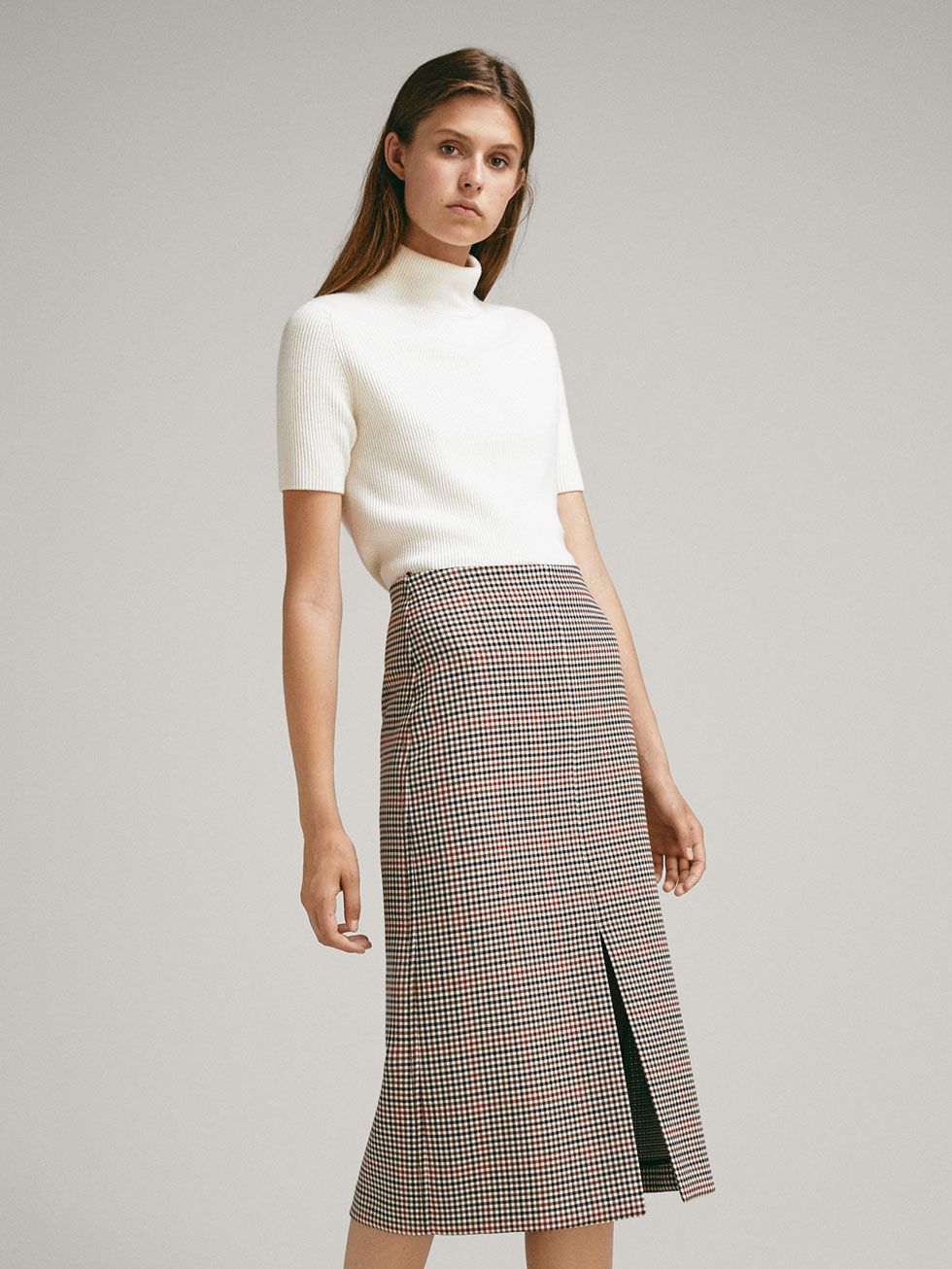 dd44fd4f79 CHECK WOOL SKIRT WITH FRONT SLIT - Women - Massimo Dutti | 2018/2019 ...