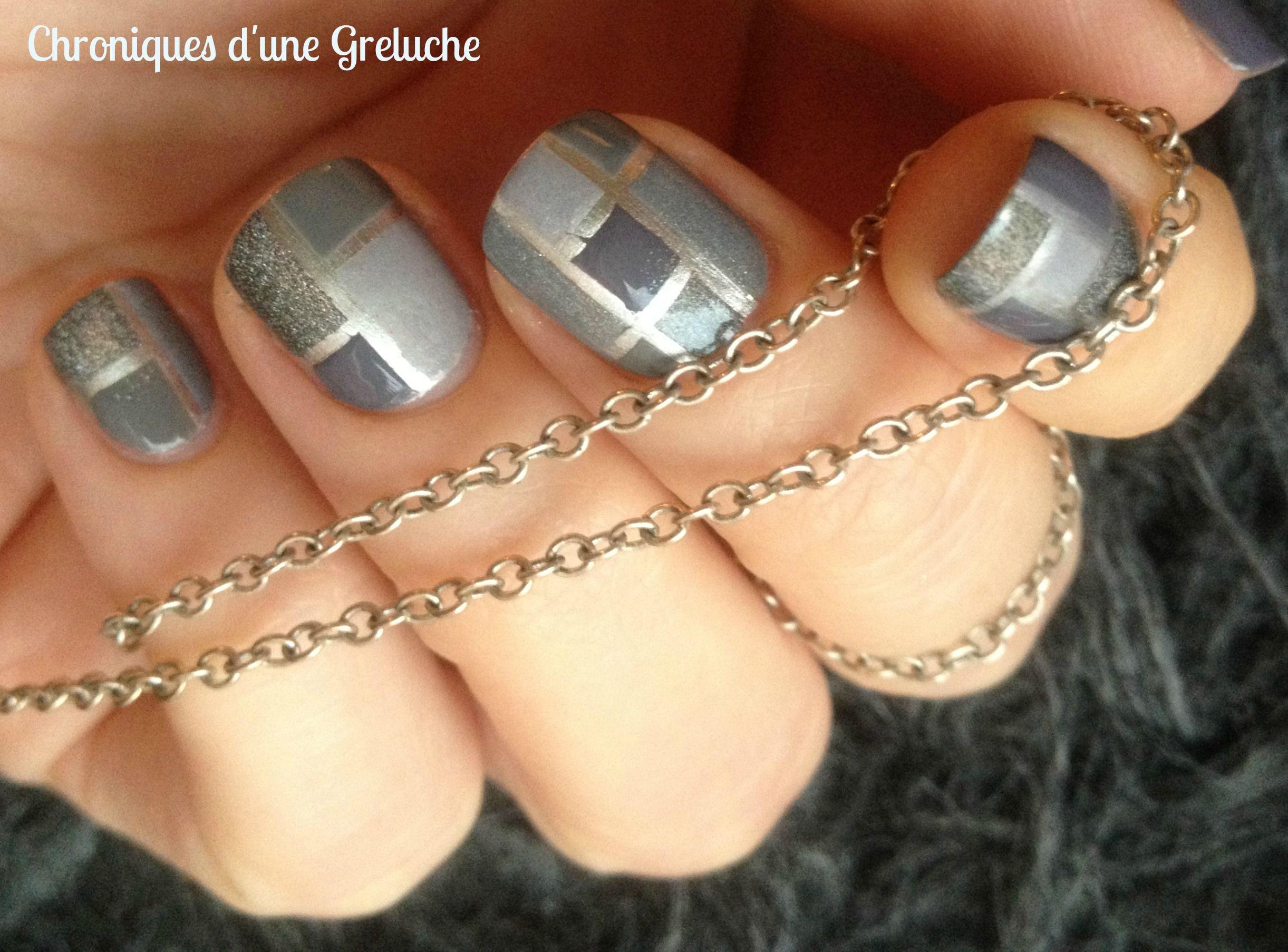 Gray & silver mosaic tiles, striping tape, free hand nail art