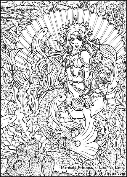 Mermaid Seascape Coloring Page Line Art Drawing B W Image Mermaid Coloring Pages Coloring Books Adult Coloring Pages