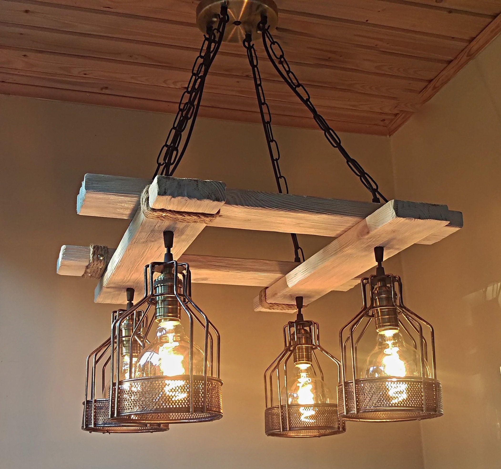 Handmade rustic light, wood fixture Farmhouse light