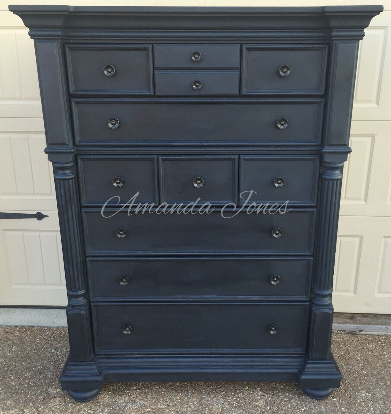 Attractive 50/50 Mix Of Napoleonic Blue And Graphite Chalk Paint™ With Black Wax