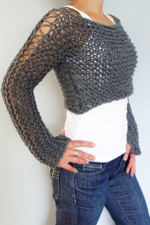 6bf723d0b0 PDF Knitting Pattern - Andra Cropped Thumb Hole Sweater  SuperChunky Knit  Soho Cropped Top