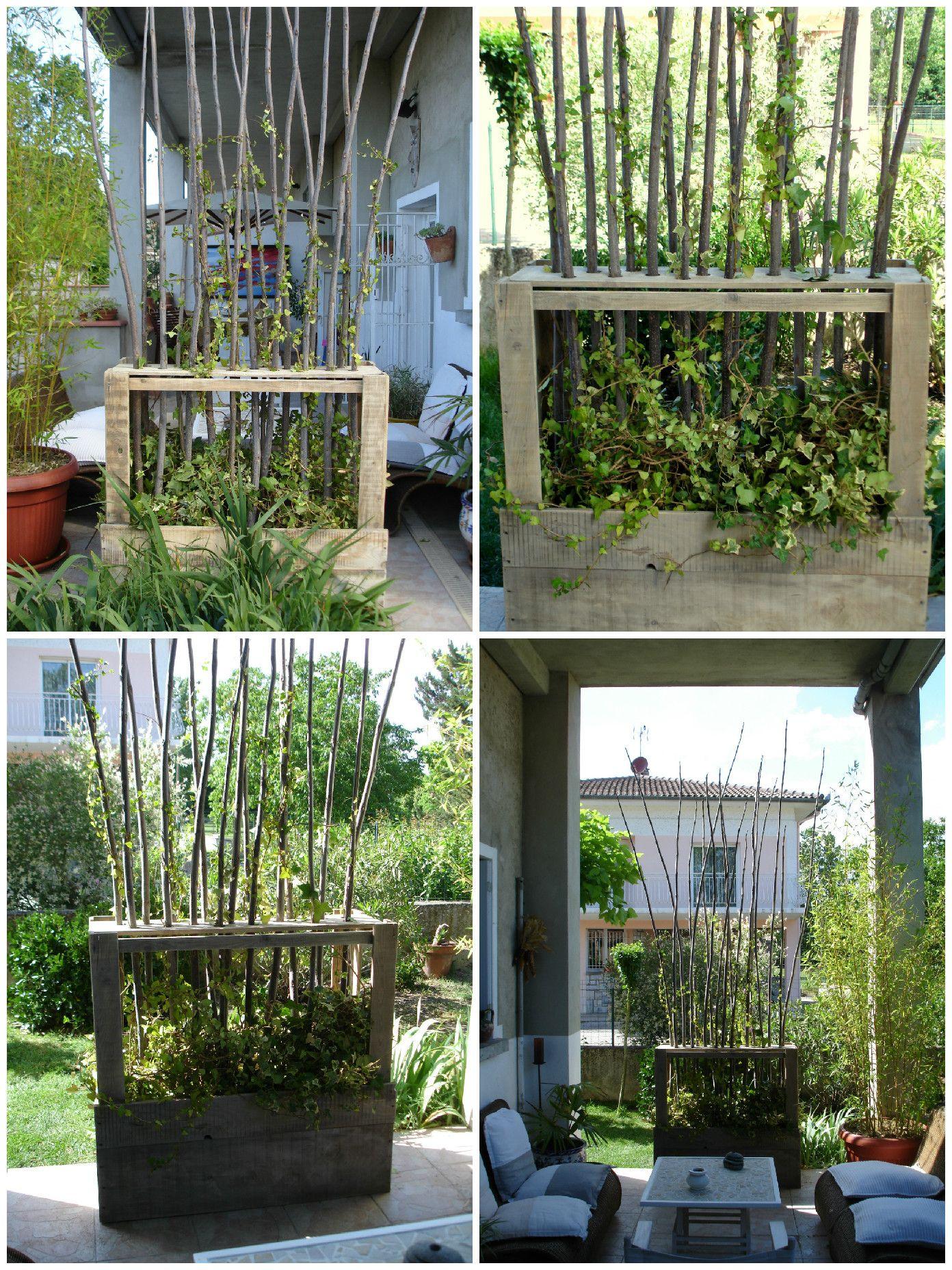 paravent v g tal en bois de palettes upcycled wooden pallet vegetal fence privacy fences. Black Bedroom Furniture Sets. Home Design Ideas