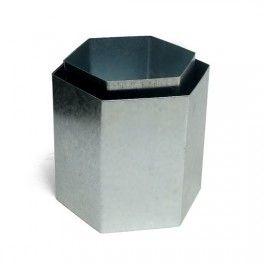 Molde para hacer Fanales Hexagonales. Medidas del Fanal Hexagonal Metal: Lados: 6 cm. Altura: 12 cm. Diámetro: 12 x 10,5 cm.  Disponible en Gran Velada