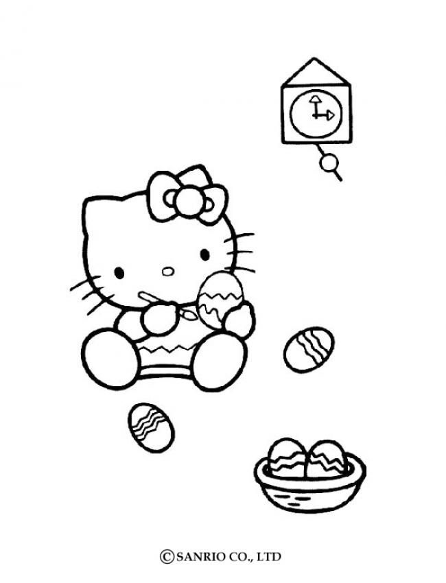 HELLO KITTY Ausmalbilder - HELLO KITTY BEMALT OSTEREIER anmalen ...