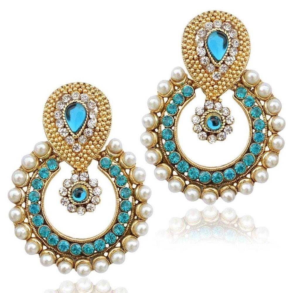 Indian Ethnic With Pearl /& Blue Stone Chandbala Earring.
