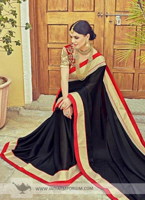 d6db418a4257c7 Black Satin Silk Saree with Red Border #Black #Saree #Embroidery #PartyWear  #Indiaemporium