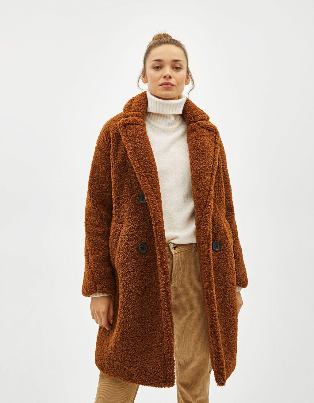 5d2c08bf82 Długi dwurzędowy płaszcz ze sztucznego baranka Faux Shearling Coat, Fur Coat,  Double Breasted Coat