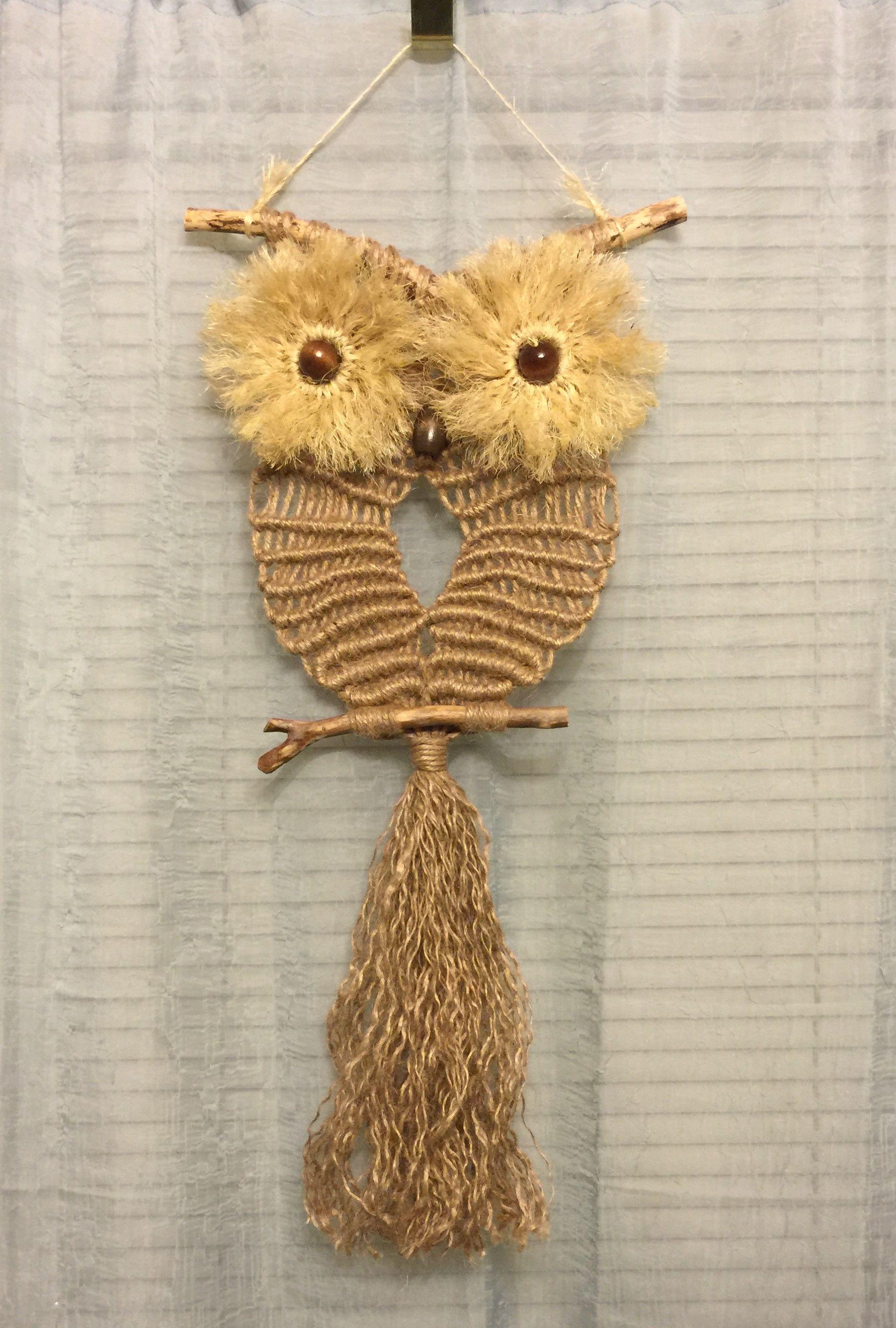 Owl 18 Macrame Wall Hanging Natural Jute Sisal