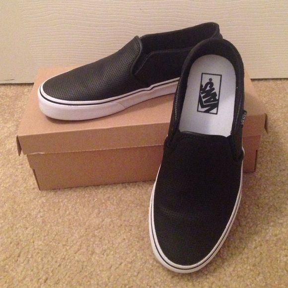 VAN'S SLIP ON SNEAKERS Perforated brand new vans, really looks good on feet and cool stylin- unfortunately don't fit me.  I bought them bc ur was they're last pair of this size.  Price is firm.  Low ball offers will not be considered. Vans Shoes Sneakers