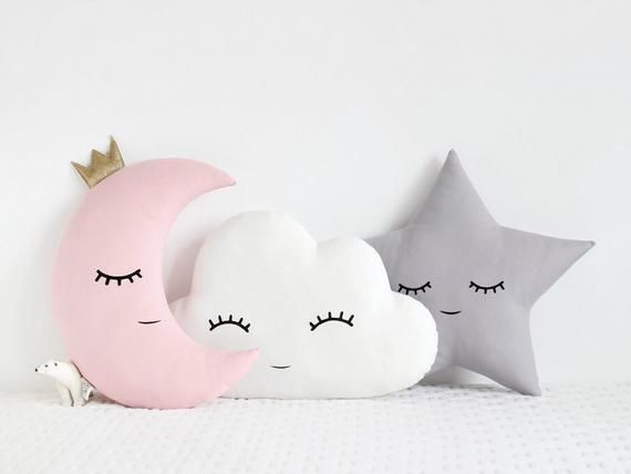 Cloud Moon and Star Cushions / Nursery Decor Pillows / baby | Etsy