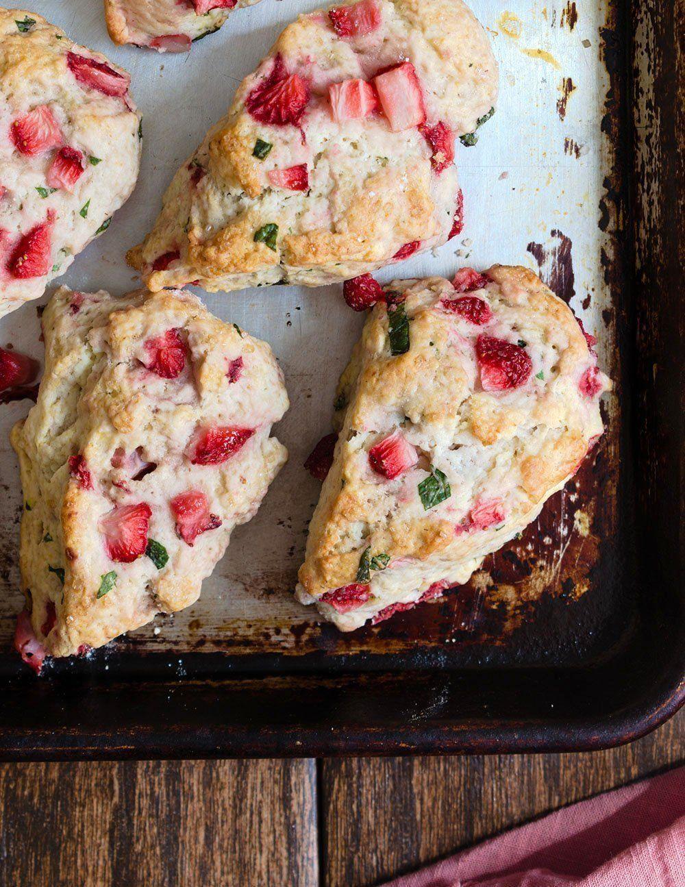 Strawberry Basil Buttermilk Scones Cherry On My Sundae In 2020 Buttermilk Recipes Buttermilk Scone Recipe Savoury Food