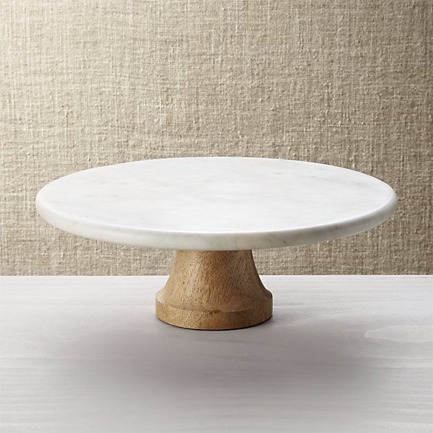 Wood Marble Pedestal | Crate and Barrel