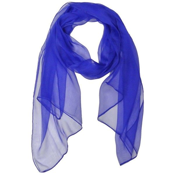 Wrapables Solid Color 100 Silk Long Scarf Royal Blue 13 Liked On Polyvore Featuring Accessories Scarves Long Scarf Solid Color Scarves Long Silk Scarf