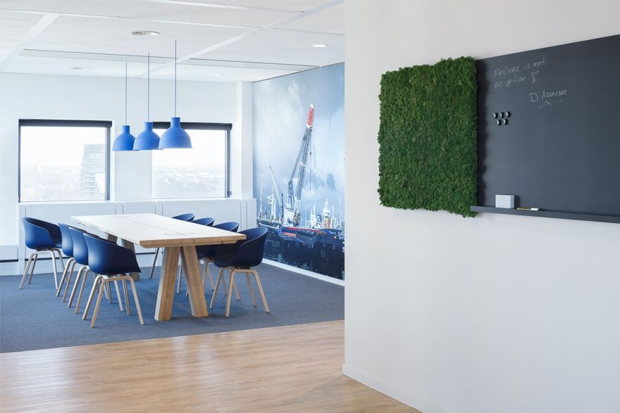Vertical gardens and simple conf room design design at work