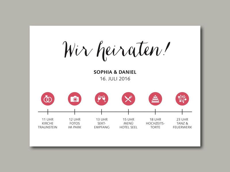 Wedding Invitation Stationery Timeline Hochzeitseinladung Timeline
