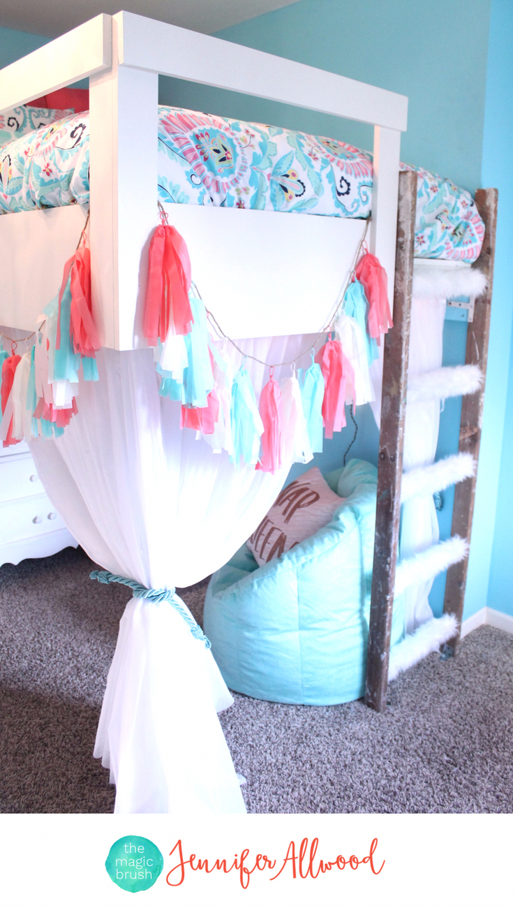Loft bed curtain ideas  Tween Girls Loft Bed with Curtains and Faux Fur Ladder by Jennifer