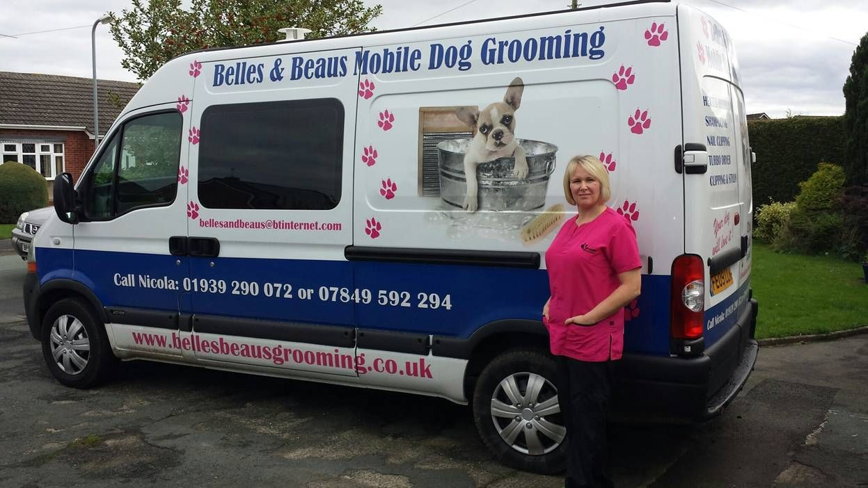 Now Trading Belles Beaus Mobile Dog Grooming Find Me On Face Book Dog Grooming Dog Groomers Dog Grooming Business