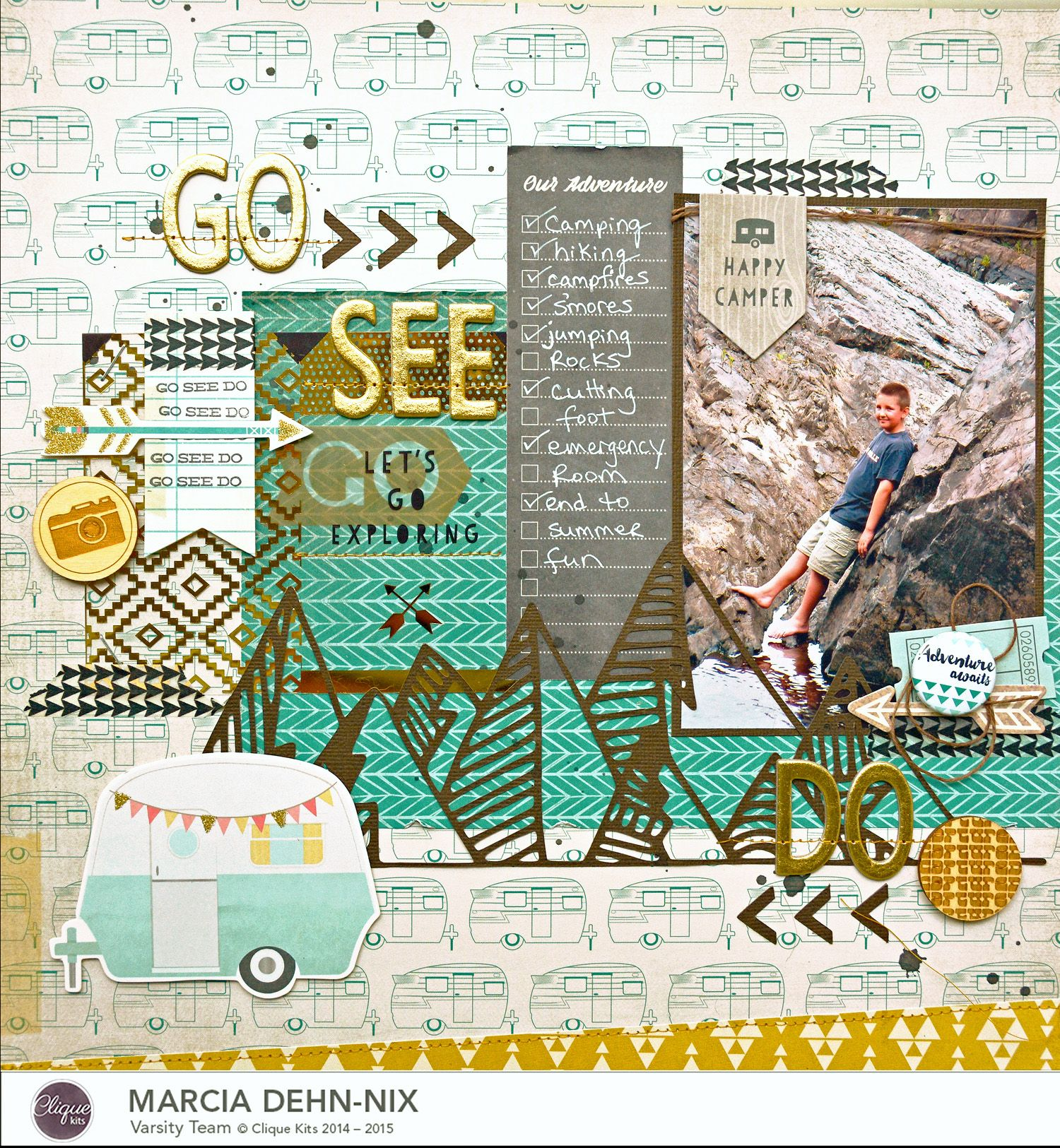 Journey scrapbook ideas - Layout Created With The June Clique Kit Featuring The Crate Paper Journey Collection