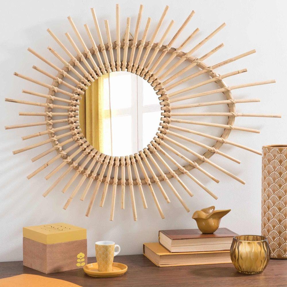 spiegel aus rattan h 58 cm linares miroir wicker mirror wicker furniture diy wall decor