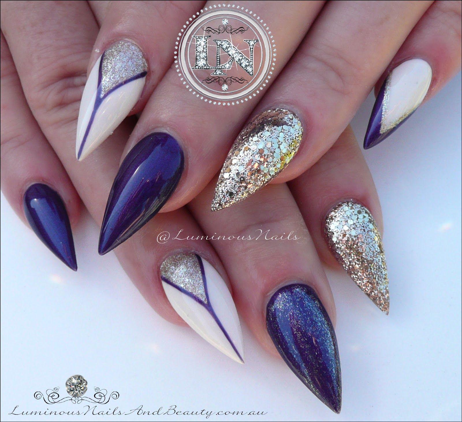 luminous nails: purple, cream & champagne gold inspired