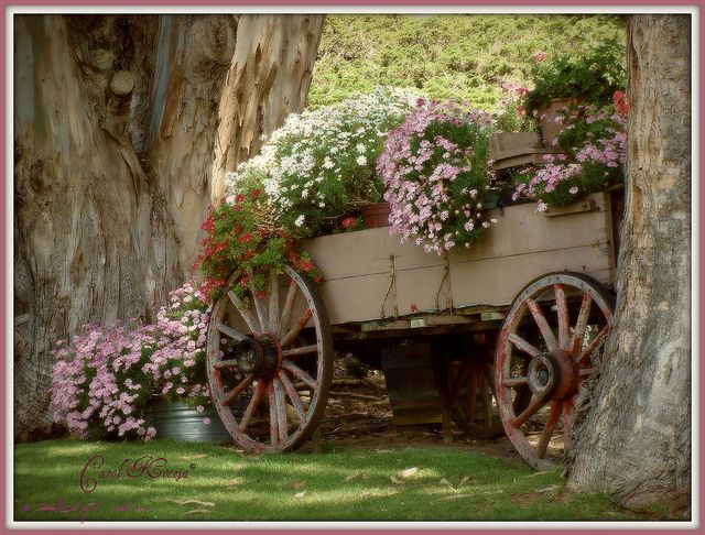 Wagon Wheel Flower Basket