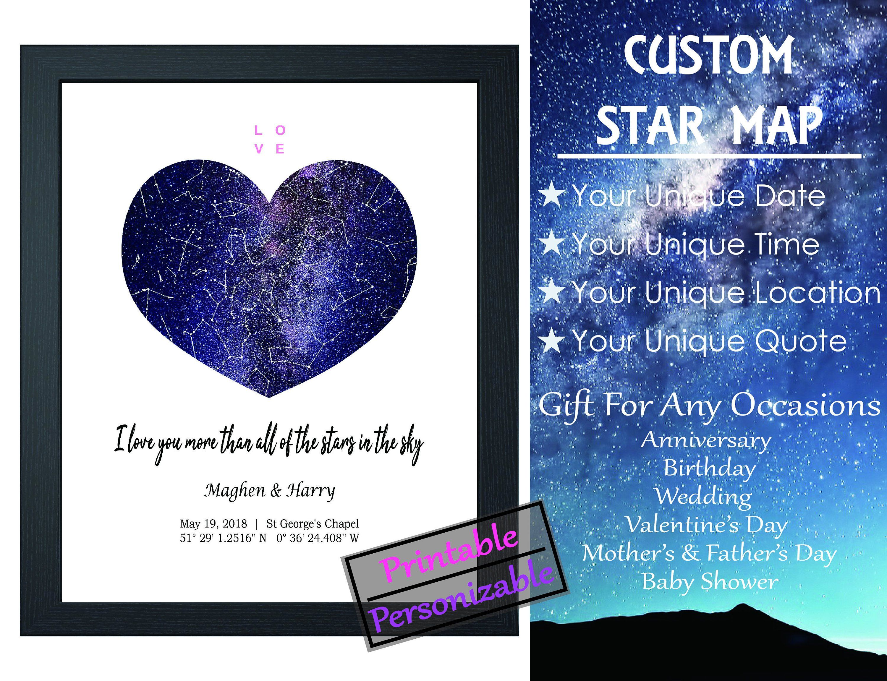 Custom Personalized Star Night Sky Map, Constellation Map ... on star map poster, constellation map poster, michigan lighthouse map poster,