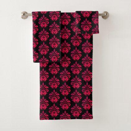 Dark Pink On Black Bath Towel Set Zazzle Com Black Bath Towel