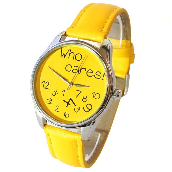 #ZIZ Yellow Who Cares #Watch With Leather Band/ by ZIZAccessories