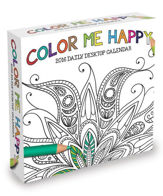 Color Me Happy 12 Month 2016 Daily Desktop Calendar Coloring Calendar Desktop Calendar Color Me