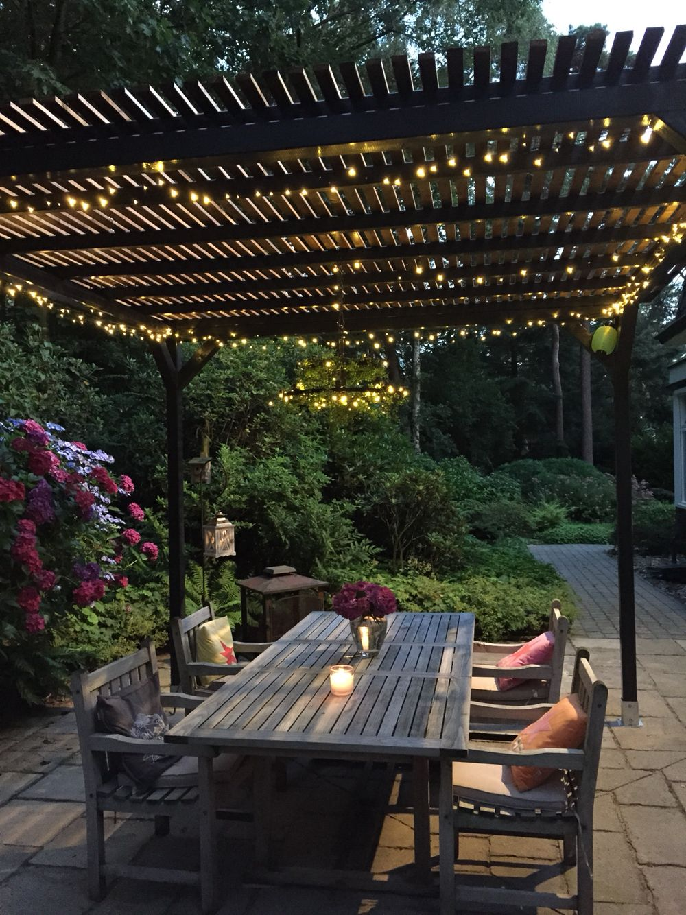 Dream pergola with fairy lights chandelier. Self made