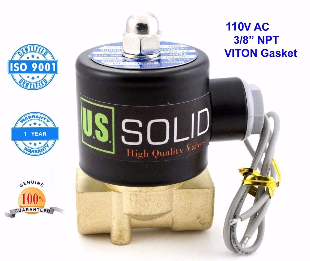 """28.99$  Buy here - http://ai0sa.worlditems.win/all/product.php?id=32668109269 - """"U. S. Solid 3/8"""""""" Brass Electric Solenoid Valve 110V AC NPT Thread Air, Gas,Fuel Normally Closed ISO Certified One Year Warranty"""""""