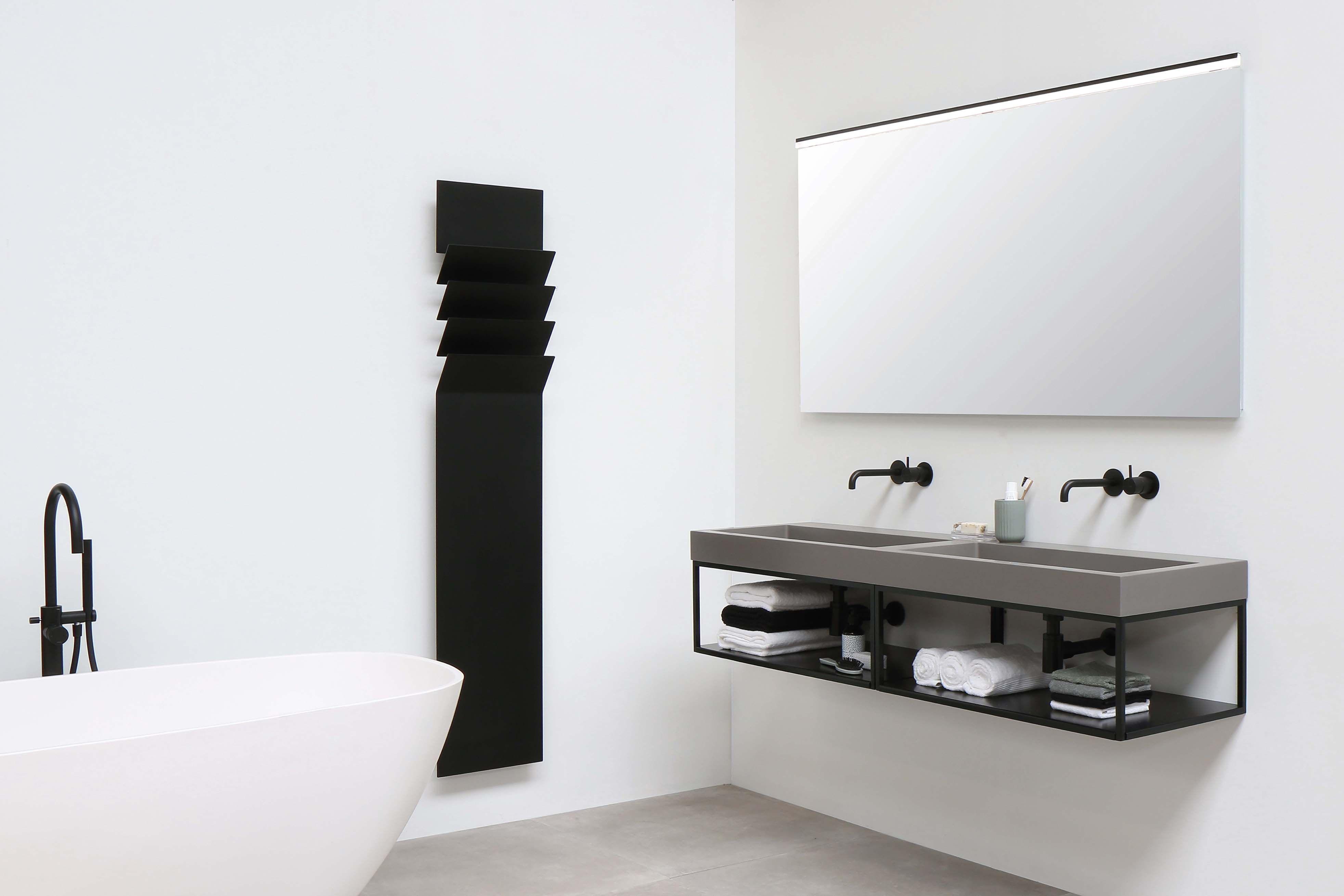 Ink momento quartz beton 160 cm ferro frame mat zwart 2x 80 cm
