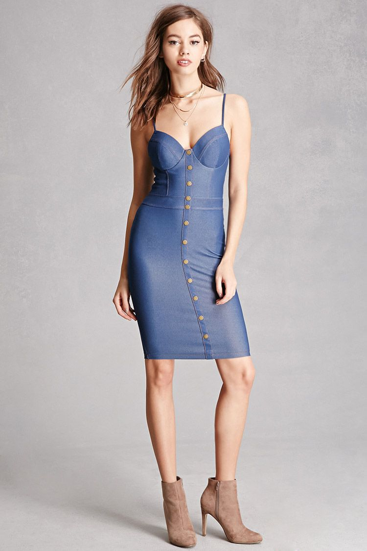 d75adec7a1 A stretch-knit denim dress featuring a sweetheart neckline with padded  cups