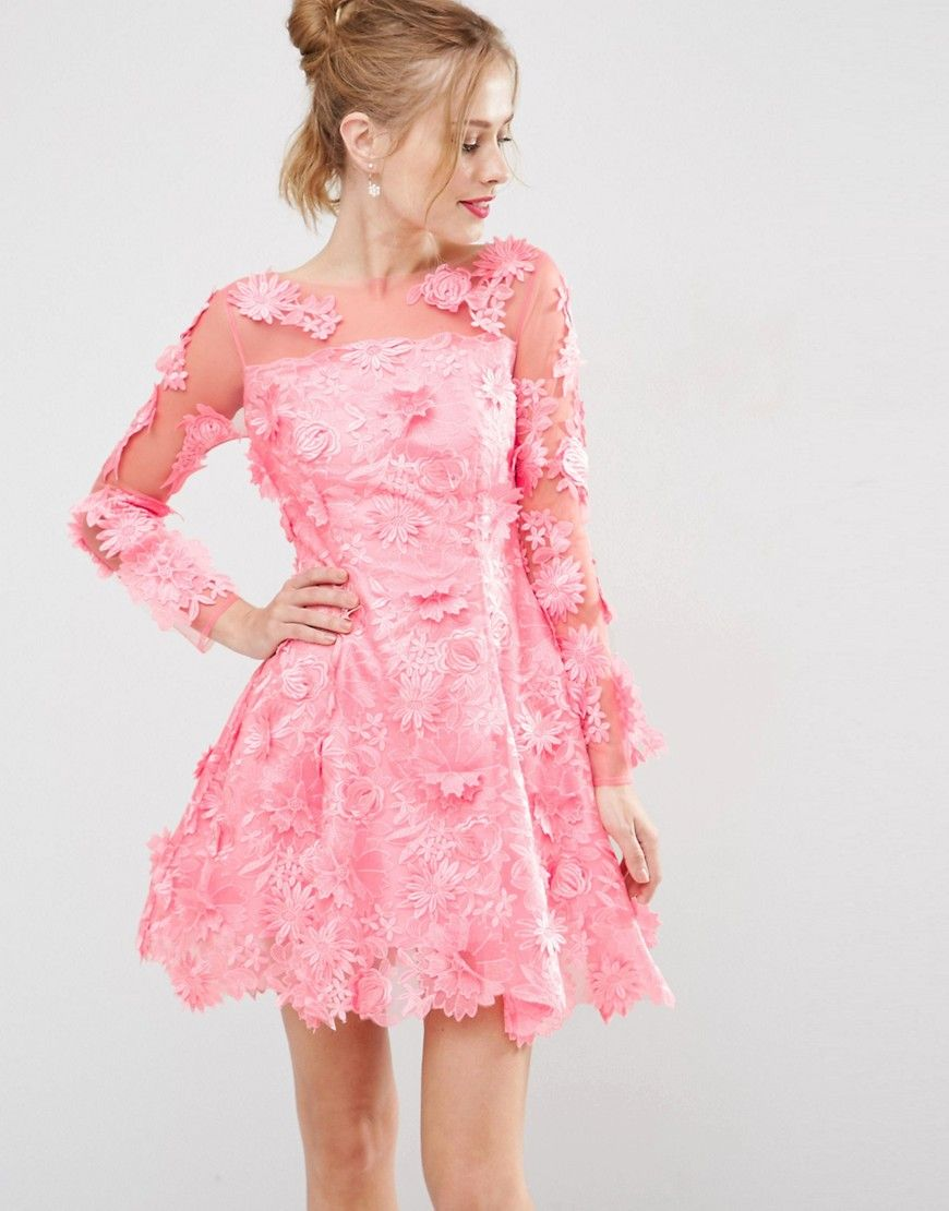 Image 1 of ASOS SALON 3D Floral Lace Applique Mini Skater Dress ...