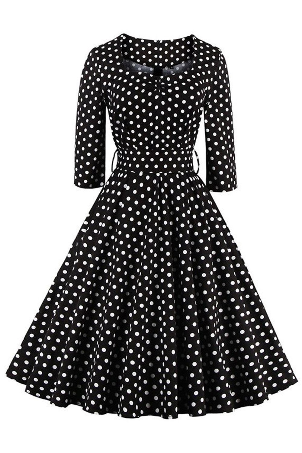 236c1848a7 ... Buy Quality women dress 2016 directly from China women dress Suppliers:  Robe Femme Winter Autumn Womens Dress 2016 Black Dress White Polka Dots  Vintage ...