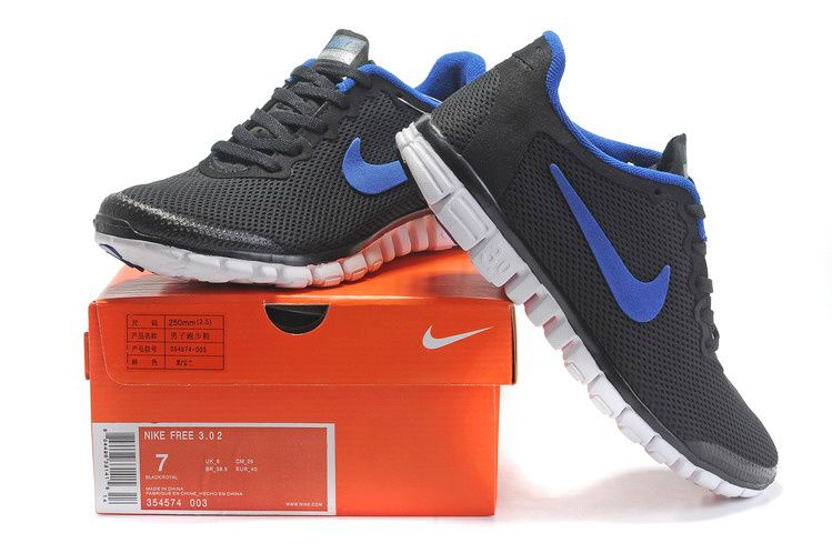 Nike Free 3.0 Mens Running Shoes Black Sky Blue White 354574 003