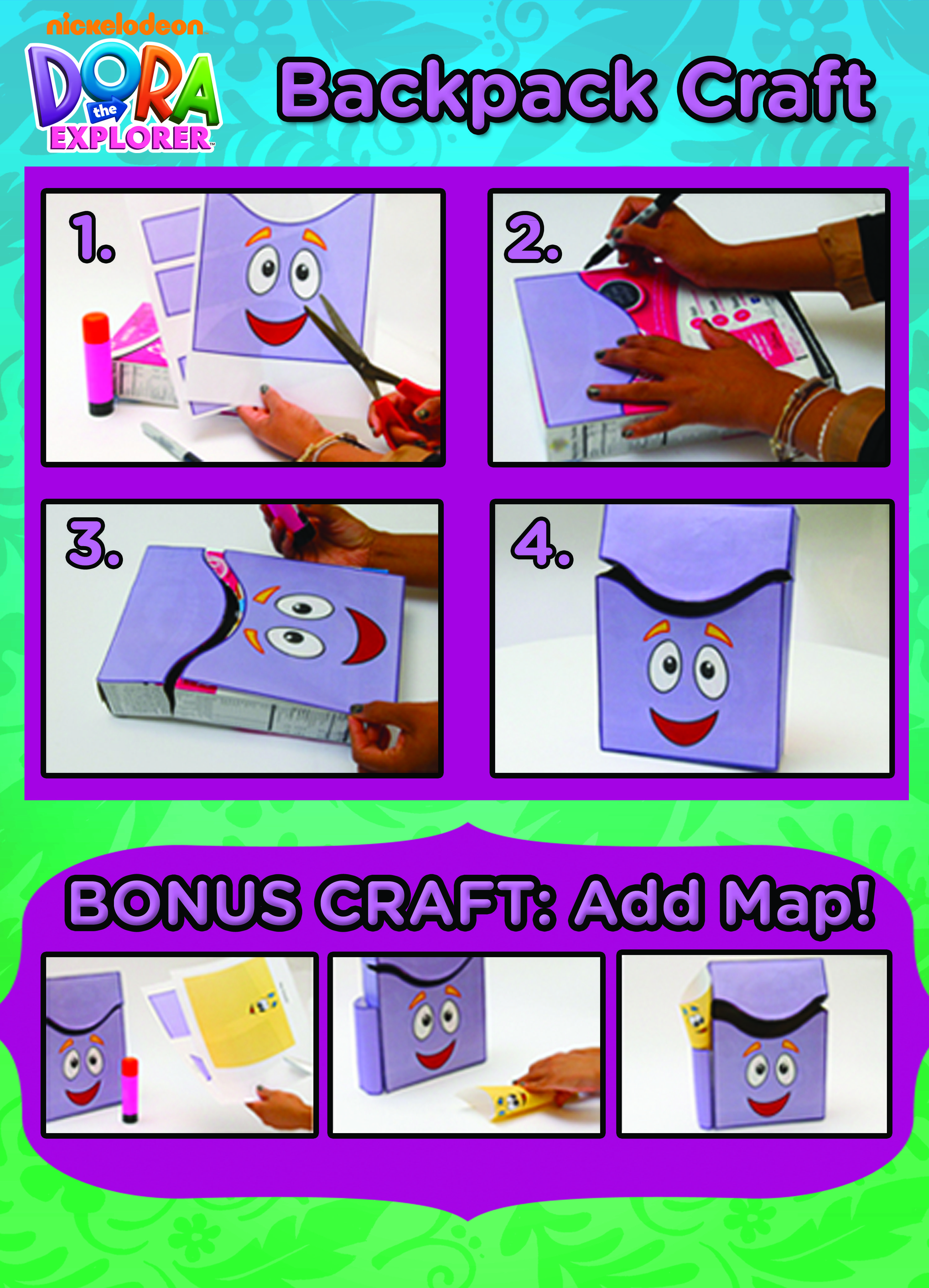 Turn a cereal box into a Dora the Explorer cute storage box for kids Dora Backpack With Map on
